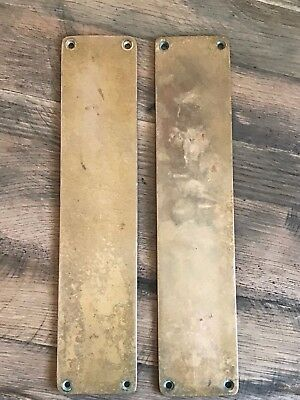 "Pair Vintage Solid Brass Door Finger Push Plates 12"" x 2 3/4 "" Reclaimed a"