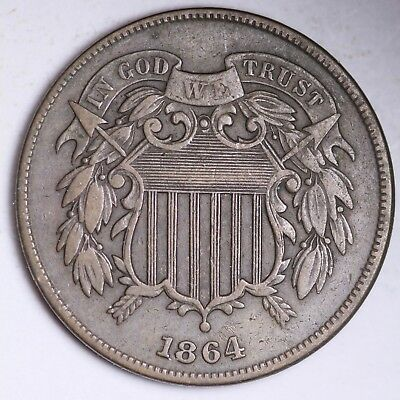 1864 Two Cent Piece CHOICE XF FREE SHIPPING E234 TEV