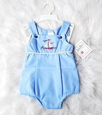 Deadstock NWT Baby Boy Bliss Blue Sailboat Romper 9 Months