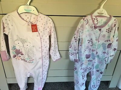 BNWT TU girls 3-6 months sleepy suits