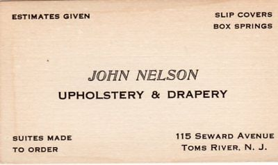 Old Toms River NJ Upholstery & Drapery Advertising Business Card New Jersey !!!