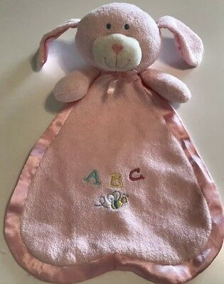 Animal Alley Baby Blanket Plush Puppy Dog Pink ABC Security Satin Ears Lovey