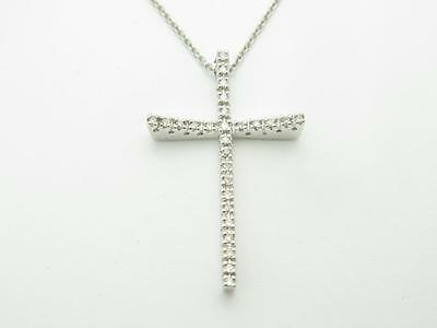 14k Solid White Gold Genuine White Diamond Vintage Design Cross Necklace Gift
