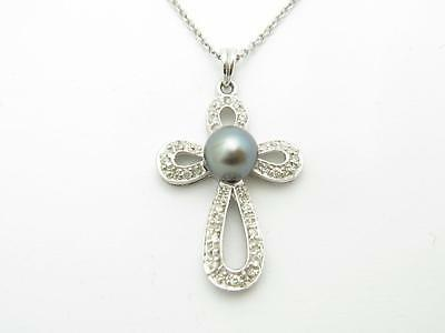 14k Solid White Gold Genuine White Diamond Vintage Pearl Design Cross Necklace