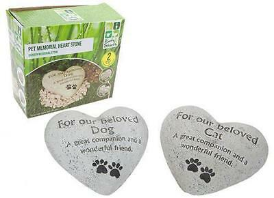 Dog Or Cat / Pet Garden Memorial / Heart Stone In Colour Box / Paws And Message