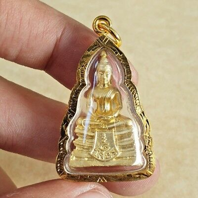 LP. SOTHORN THAI BUDDHA Amulet Brass Magic Luck Holy Health SAFETY Pendant Case