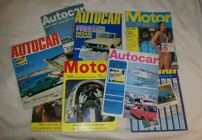 8 Vintage Autocar and Motor Magazines. Most are 1970