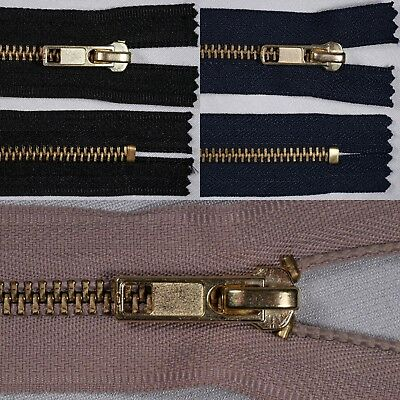 "7"" 18cm black navy beige heavy duty gold metal CLOSED END ended auto lock zips"