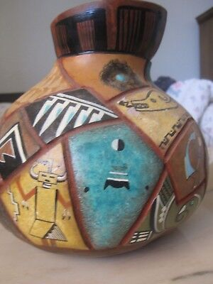 VTG Large HAND PAINTED & CARVED GOURD ~ Turquoise INLAY ~ Hopi ~ Signed