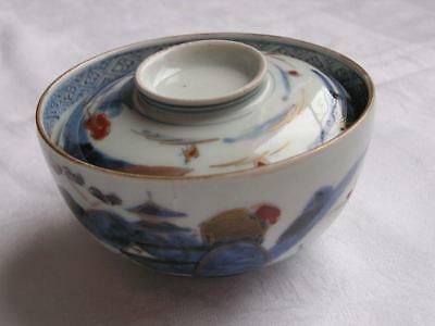 Antique Japanese Imari chawan with landscape 1770-90 handpainted #4363B