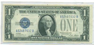 1928 A $1 Blue Seal Silver Certificate Funny Back