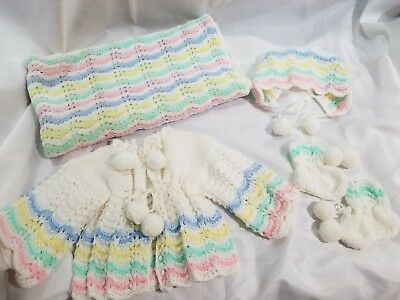 Vintage HANDMADE Baby Girl 5pc Outfit Knitted/Crochet Hat Bootie Sweater Blanket