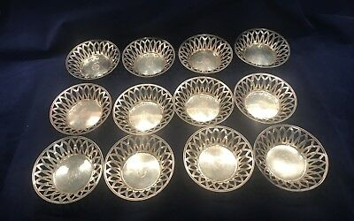 12 Frank M. Whiting Sterling Silver Nut Dishes Pierced c..1908