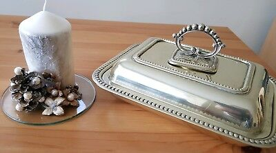 Antique Entree Dish Silver Plated  3 Piece Serving Tureen Bowl & Cover