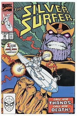 Silver Surfer #34 NM 9.4 white pages  Thanos Returns  Marvel  1990  No Reserve