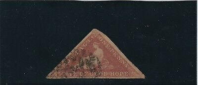 CGH 1857 1d brick red on cream toned paper, SG5, cat £900 (see description)