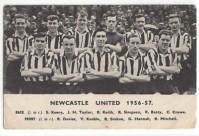 Newcastle United 1956-57 team photo on printed ad card for Daily Express