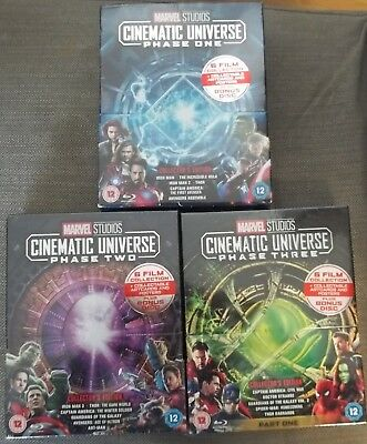 Marvel Studios Cinematic Universe Phase 1 One, 2 Two, 3 Three Blu-ray New.