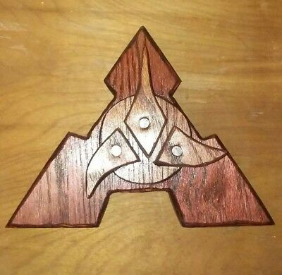 Klingon Inspired Plaque hand carved from wood and hand stained. 102718