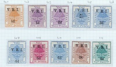 ORC 1900 level stops, basic set of 10, fine mounted mint, cat £140