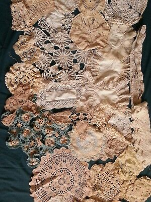 job  lot  of 40  handmade old  vintage round  lace crochet  dollies