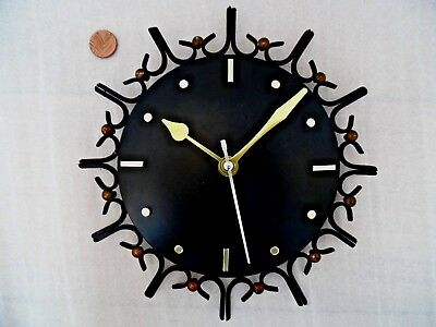 50s 60s SPUTNIK WALL CLOCK, Vintage BLACK & GOLD METAL, Retro BATTERY MOVEMENT