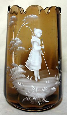 Antique Mary Gregory Amber Glass Vase Hand Blown and Decorated