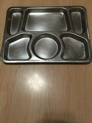 Stainless Compartment Food Serving Tray Stainless Steel Metal Cafeteria Trays