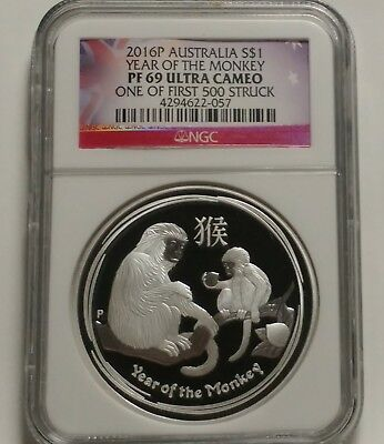 2016 Australia Year Of The Monkey Silver $1 NGC PF69 One Of First 500 Struck