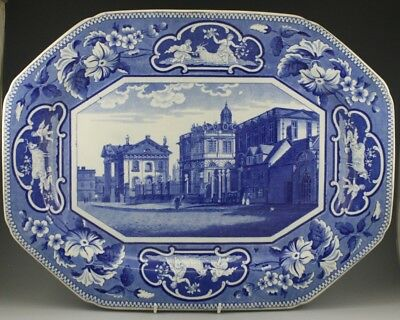 """Antique Pottery Pearlware Blue Transfer Ridgway College Series 19"""" Platter 1820"""