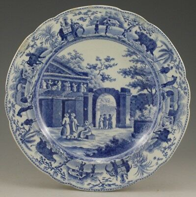 """Antique Pottery Pearlware Blue Transfer Spode Caramanian Granary 6"""" Plate 1810"""