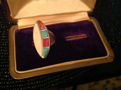 Vintage Native American Zuni Turquoise Coral Bone Inlay Sterling Ring 7