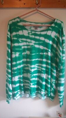Falls Creek Women's Long Sleeve Sweater green & white brand New with tags Size L