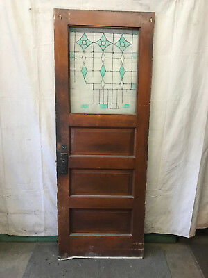 Wood 1/2 Pane Glass Reclaimed Salvaged Door Architectural Vintage