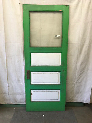 Wood Single Pane Glass Reclaimed Salvaged Door Architectural Vintage 32x79