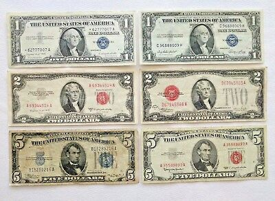 Lot Of 6 Red Seal Notes & Silver Certificates 2-$1, 2-$2, 2-$5 w/1-star Note