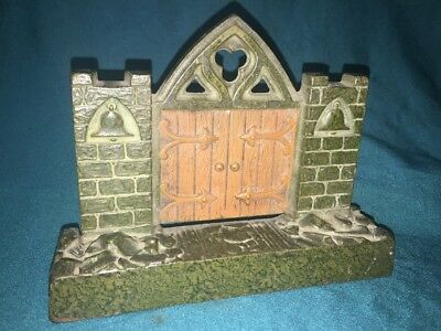 Antique Judd Cast Iron Architectural Bookend Doorstop Mission Bell Gate Nice