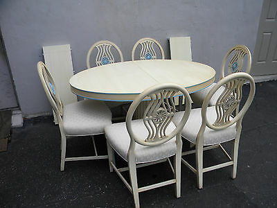 French Painted Dining Table with 6 Chairs and 2 Leaves 3443