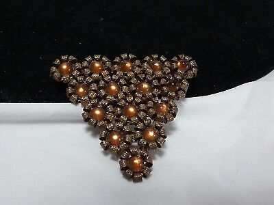 Antique Brass/Gold Amber Cabochon Triangle Art Deco Dress Scarf Fur Floret Clip