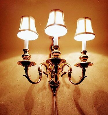 Heavy Solid Brass 3 Arm Electric Wall Sconce Colonial Library **EXCEPTIONAL**