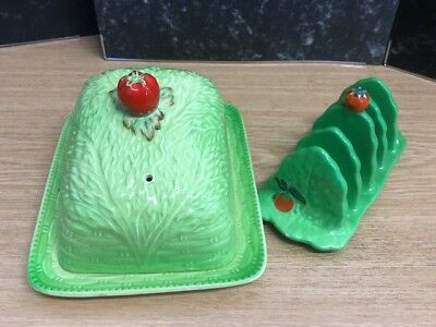Beswick Green/Tomato Toast Rack & Butter Dish - Great Condition Free P&P in UK