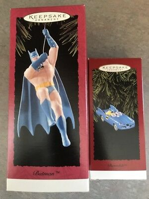LOT OF 2: BATMAN & BATMOBILE - DC Comics - 1994 Hallmark Keepsake Ornaments