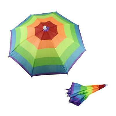 Umbrella Hat Cap Multicolor Rainbow Brock Hands Free Head Strap Golf Sun & Rain