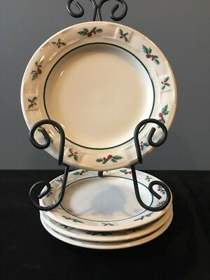 "LONGABERGER Traditional Holly Pottery 7 1/4"" Dessert Bread Butter Plates, set 4"