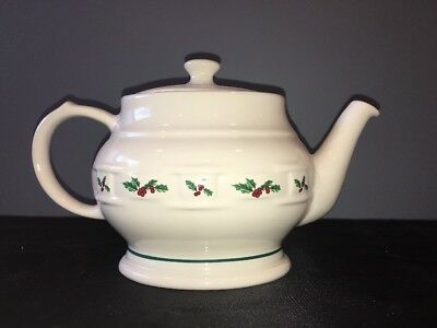 LONGABERGER Woven Traditions Christmas Holly Oval Tea Pot