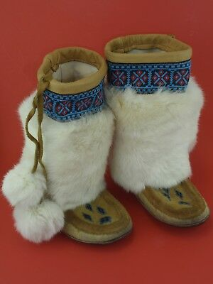 Native American Indian Vintage Beadwork Beaded Suede Rabbit Fur Tall Moccasins