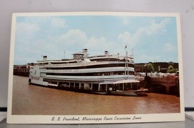 Louisiana LA New Orleans SS President Mississippi River Excursion Liner Postcard
