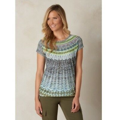 484646626f421 Prana Green Sour Apple Aztec Print Burnout Jersey Sol Short Sleeve T-Shirt  Sz S