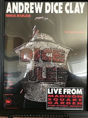 Andrew Dice Clay-Dice Rules-Rare Promotional Only Ad-Framed-Beautiful Shape-91!!