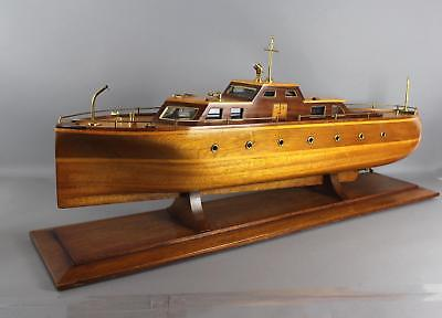 Lrg Antique 1930s Maritime Folk Art Mahogany Lake Boat Cabin Cruiser Pond Model